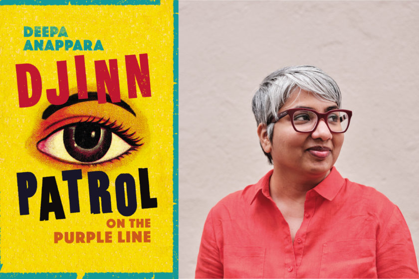 Composite image. On the left is Djinn Patrol on the Purple Line book cover. On the right is a portrait of Deepa Anappara, wearing a red shirt and maroon glasses, looking off to the right of the image