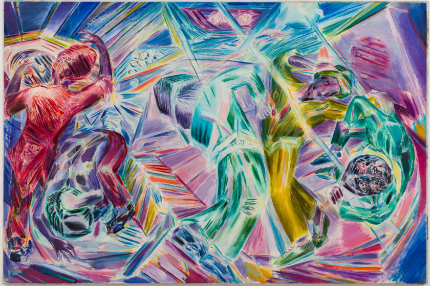 A very colourful, dynamic painting depicting people dancing, viewed from various angles and performing different shapes with their bodies. Surrounding the figures are abstracted shapes and lines in various colours, suggesting disco lights.