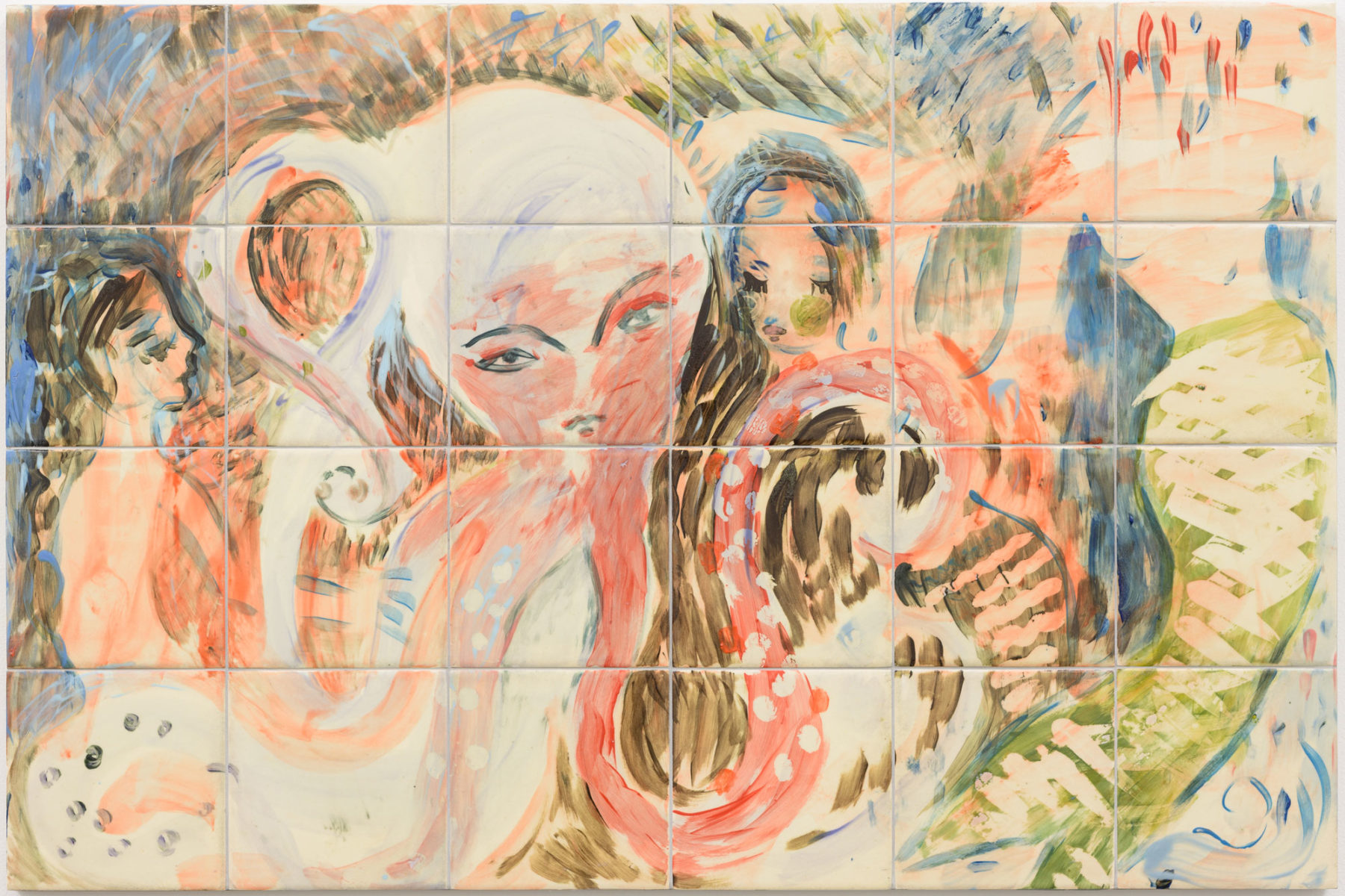 A painting on a grid of tiles, six across and four down. The image uses watery pinks, blues, browns, greens and greys to depict a dreamy and abstract scene of women and sea creatures