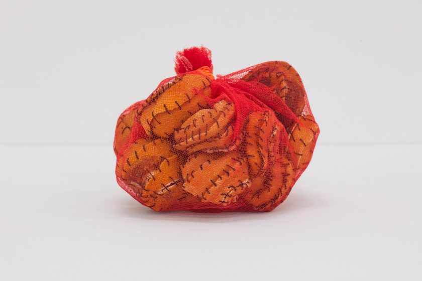 Veronica Ryan, Pouch (2020). Net, orange peels, thread.