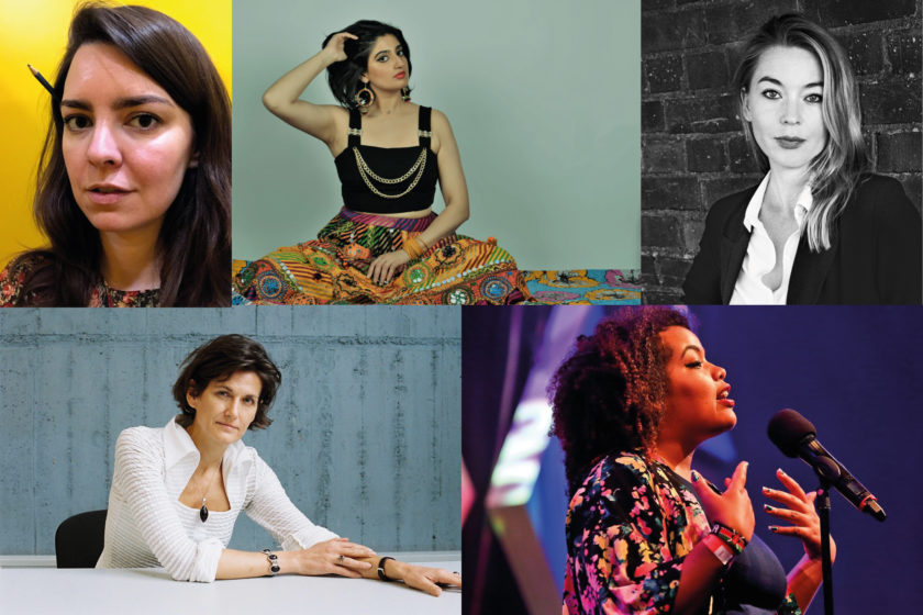 Portrait photographs of the event speakers: Becky Kosick, Shagufta K. Iqbal, Karolina Ramqvist, Janne Teller, Malaika Kegode.