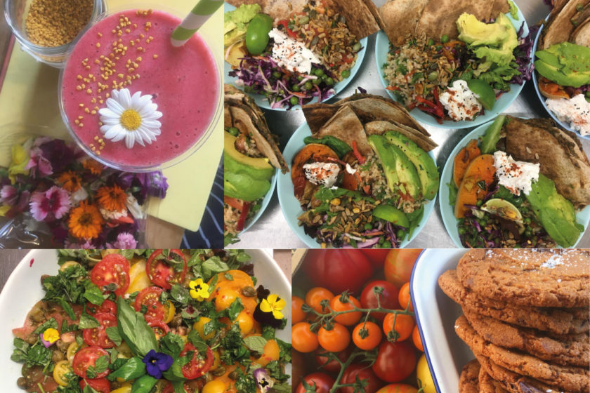 A selection of photographs taken overhead of a range of colourful food dishes, a pink juice drink with a flower floating on the top, blue plates filled with colourful salads, a bowl of red and orange tomatoes and a stack of brown cookies.