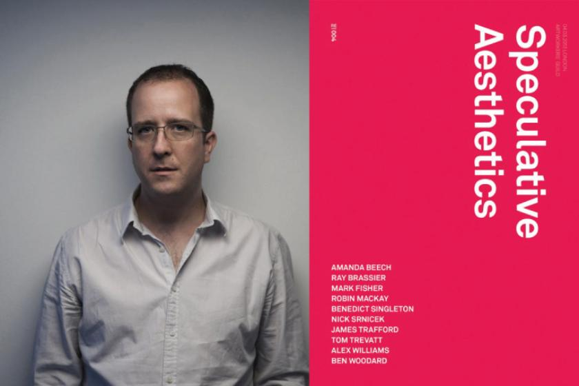Robin Mackay, portrait photograph and the cover of Speculative Aesthetics