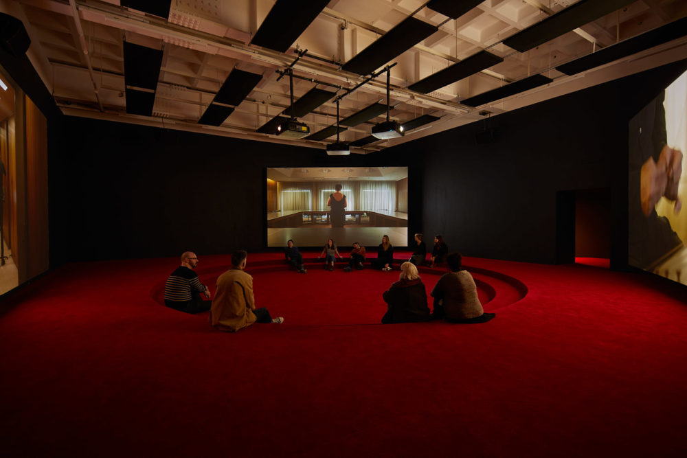 Angelica Mesiti ASSEMBLY (2020) installation view, Arnolfini, Bristol. Photograph by Max McClure