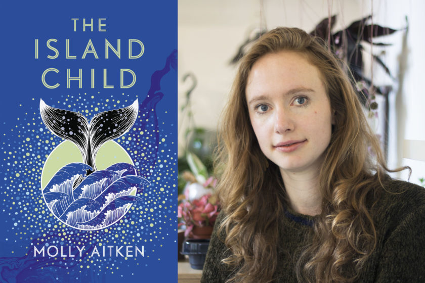 Author Molly Aitken is placed next to the cover of her book The Island Child