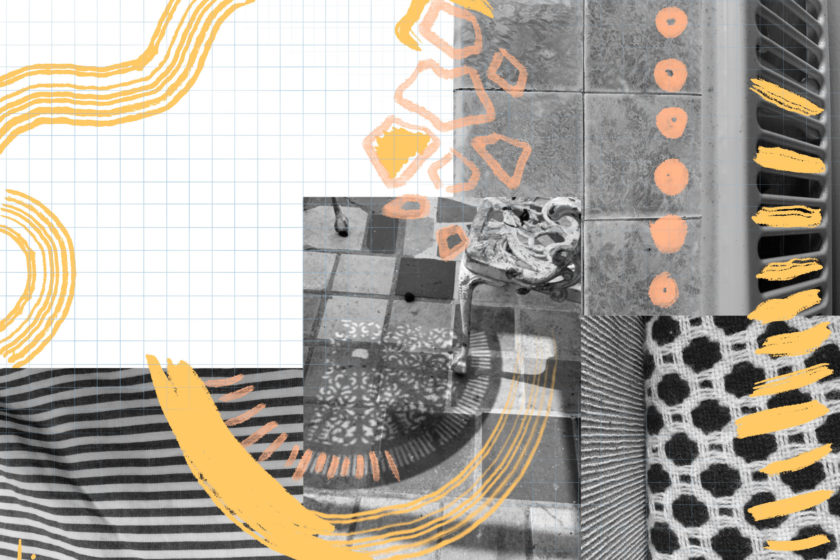 A detailed collage with overlaid black and white photocopies and pattersn, with hand drawn orange shapes and wavy and curved lines.