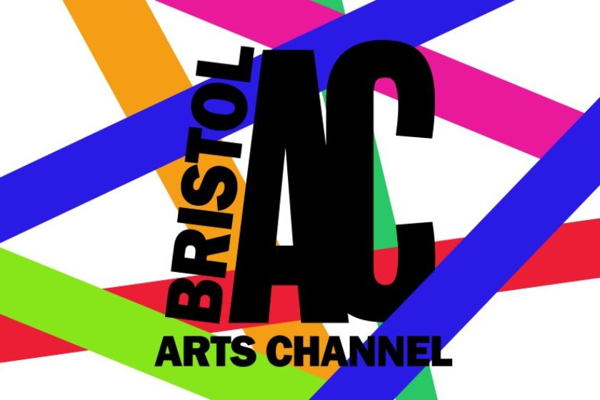 bristol arts channel black logo with multi coloured stripes in the background