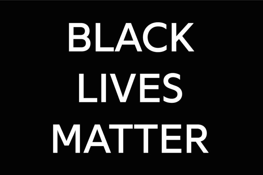 Black lives matter written in capital letters, in white on a plain black background
