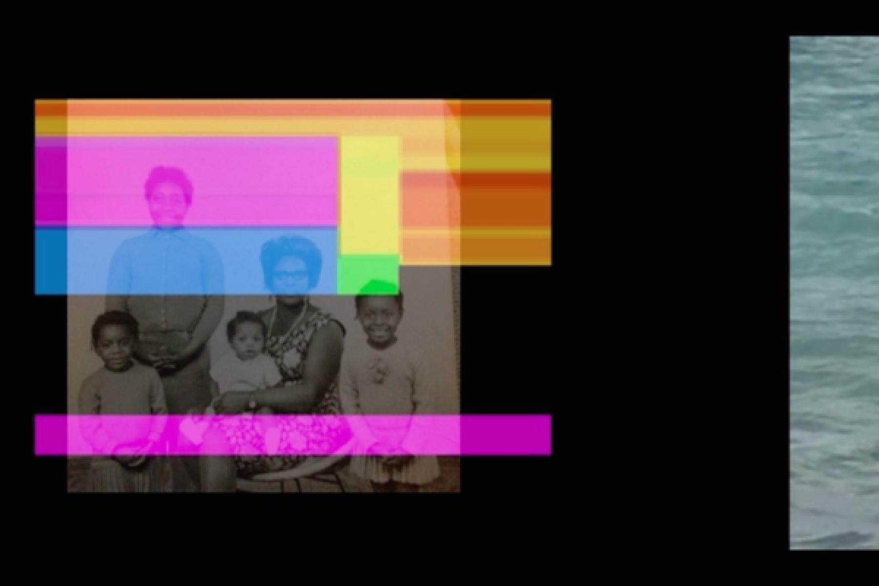 Film still from Zinzi Minott Fi Dem II - an image of a Black family sits top left which has been distorted with striped colours running across their faces. To the right of the image, you can see the beginnings of another image of seawater.