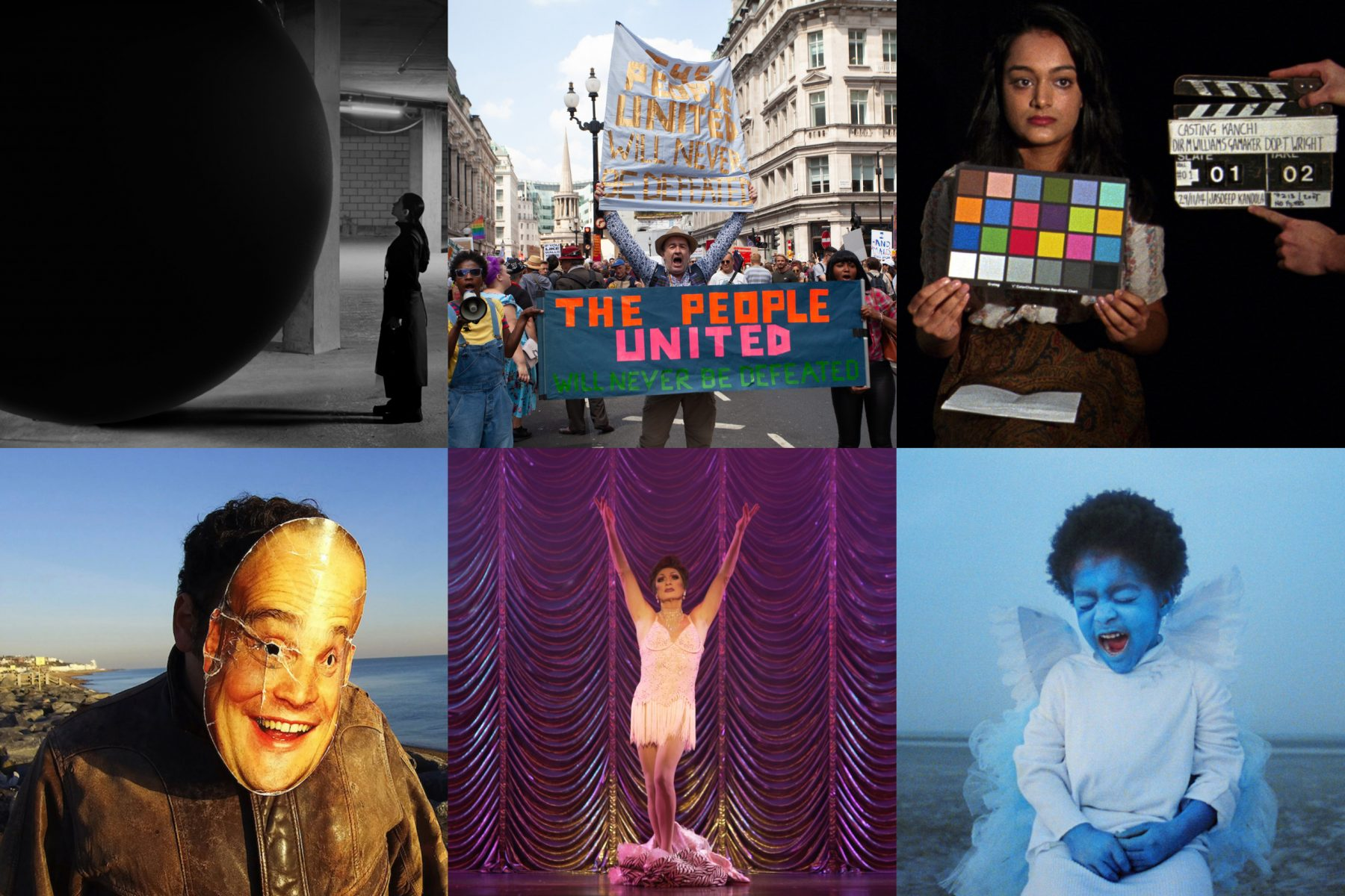 Film London Jarman Award 2020 shortlisted artists stills. Top row, left to right: Larissa Sansour, Andrea Luka Zimmerman, Michelle Williams Gamaker, Project Art Works, Hannah Quinlan and Rosie Hastings, Jenn Nkiru,
