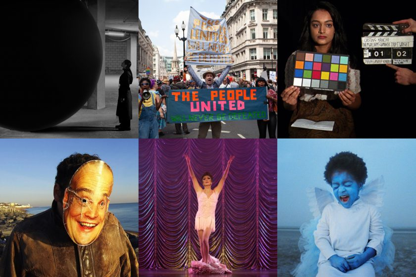 Film London Jarman Award 2020 shortlisted artists stills. Top row, left to right: Larissa Sansour, Andrea Luka Zimmerman, Michelle Williams Gamaker, Project Art Works, Hannah Quinlan and Rosie Hastings, Jenn Nkiru,