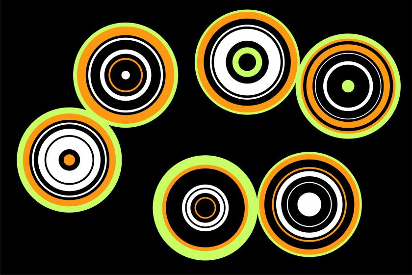 Graphic image featuring a range of circles in yellows oranges and white, against a black background