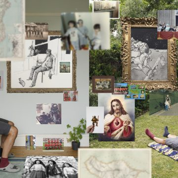 An composite artwork by Cliff Andrade featuring a range of disparate images including family photographs, an image of Jesus Christ, pencil sketches and trees.