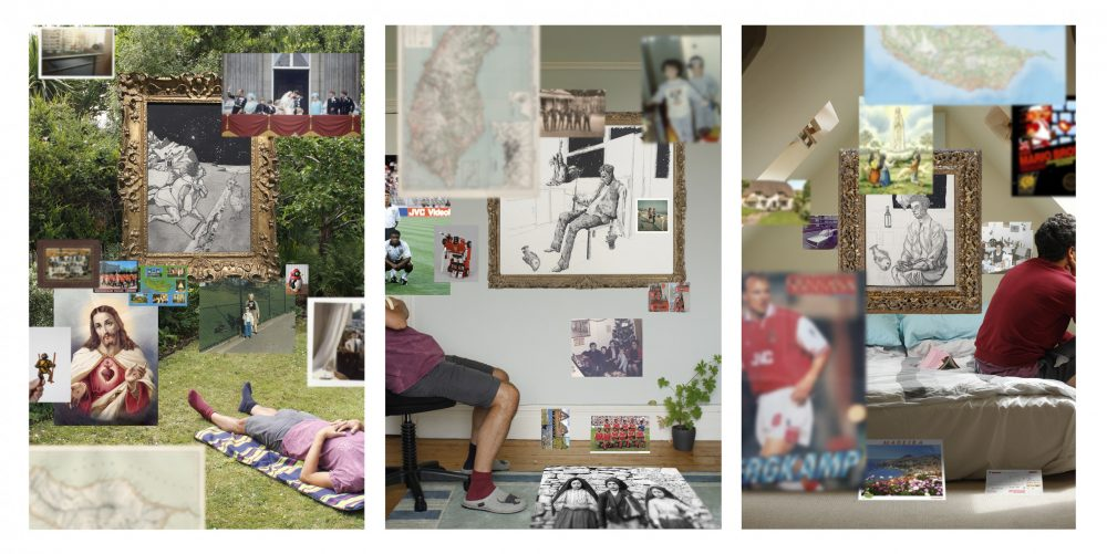 Cliff Andrade, A triptych of works, each containing multiple collaged and photographed elements including disembodied portraits of the artist, ecclesiastical imagery, sketches, out-of-focus family images, and pictures of footballers