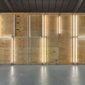 Natasha MacVoy, SHAME (2019), All the strip lights in the gallery (working and not) and white packing tape. Photograph by Max McClure