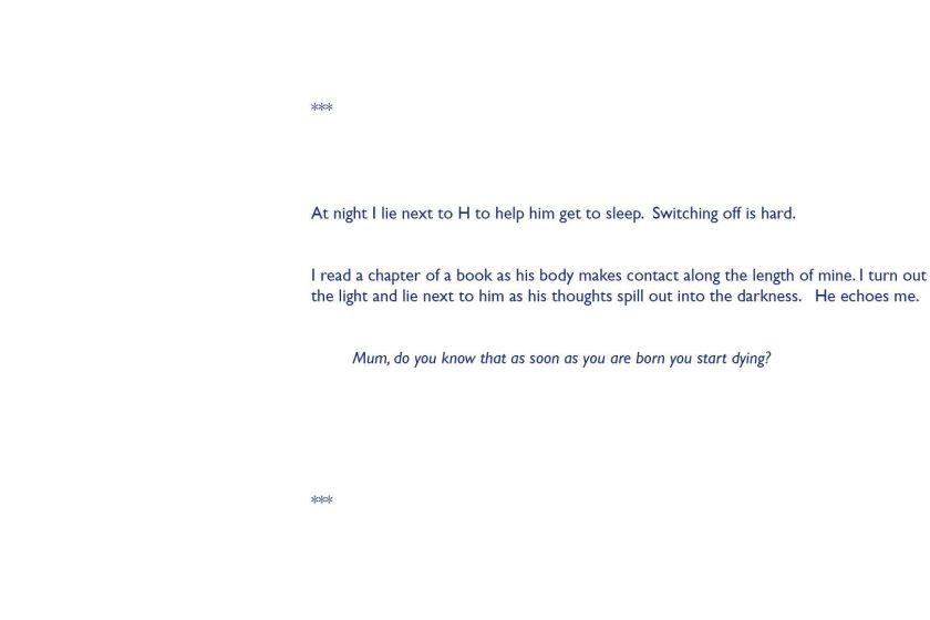 A script written in Blue san serif text on a white background