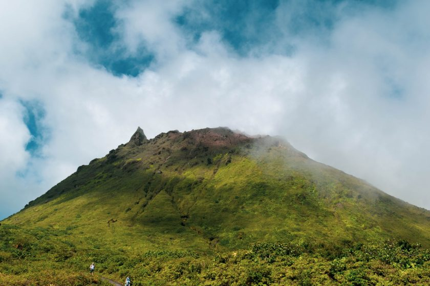 A section of the Soufrière hills in mist.
