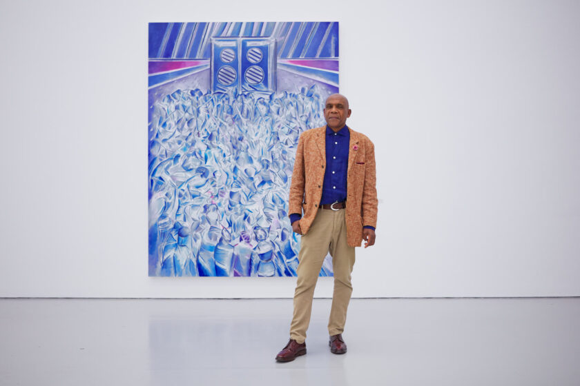 Denzil Forrester photographed in his exhibition Itchin & Scratchin at Spike Island, Bristol (2020) Photograph by Max McClure