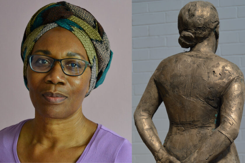 A composite image of two pictures. One is a portrait of Valda Jackson, a black woman wearing a purple top, a colourful headscarf and glasses with green rims. On the right is a detail of one of Valda's artworks, a bronze female figure, shot from the back.
