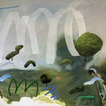 A painting of a misty landscape with various shapes and forms overlayed, in simple 'm' shapes and in varied colours