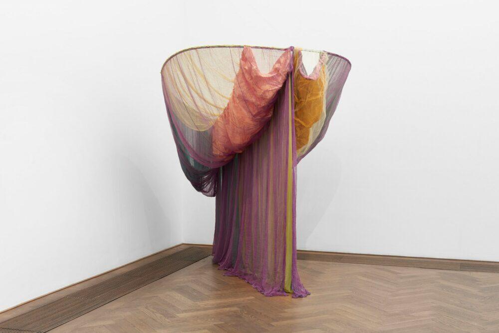 Rosemary Mayer, Galla Placidia (1973), Satin, rayon, nylon, cheesecloth, nylon netting, ribbon, dyes, wood