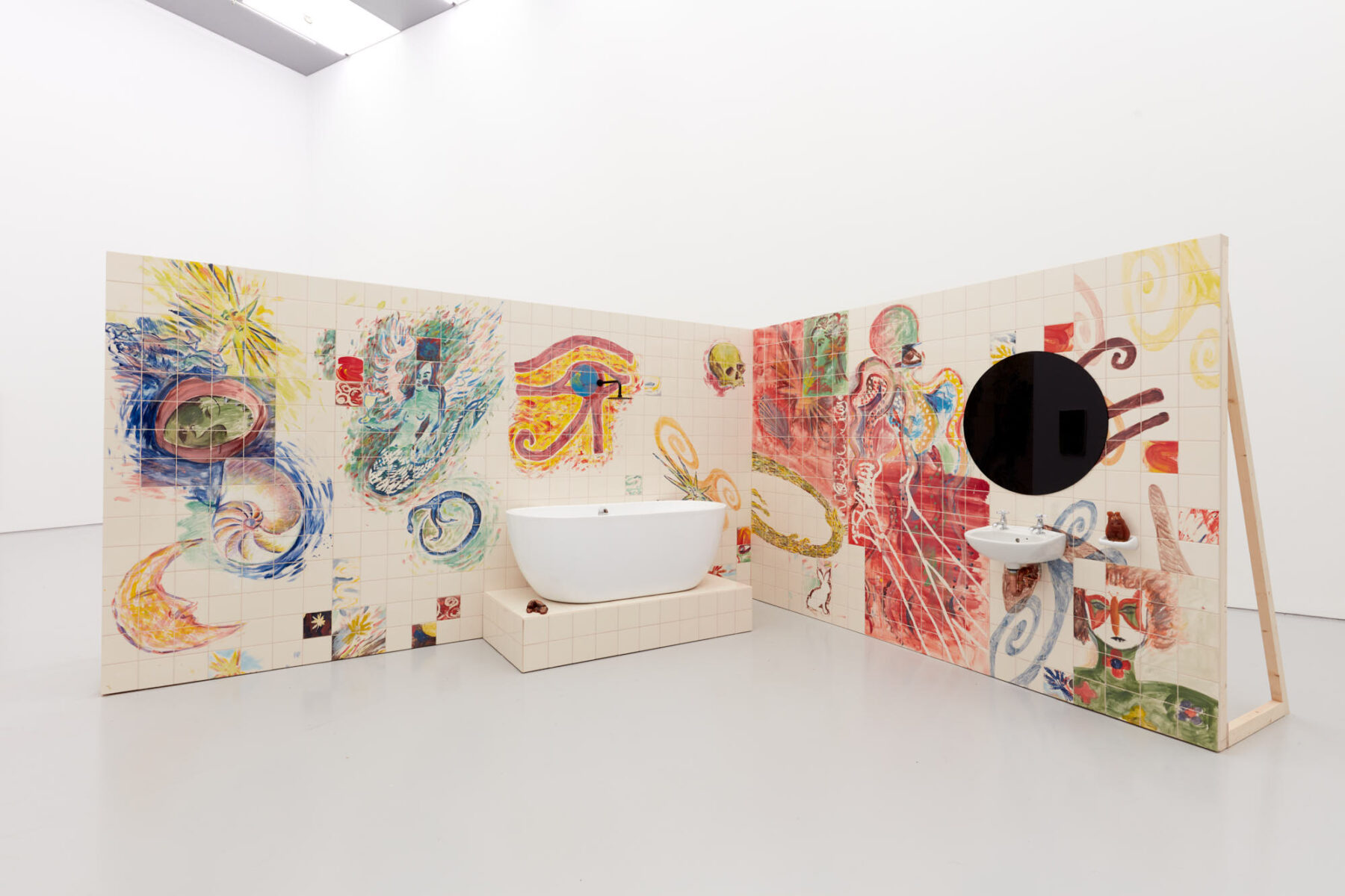 Installation view of Lucy Stein's exhibition Wet Room at Spike Island